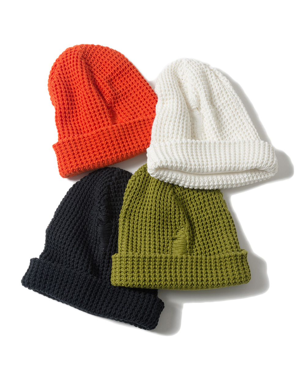 Name. COTTON KNIT BEANIE W/ DAMAGED EFFECT