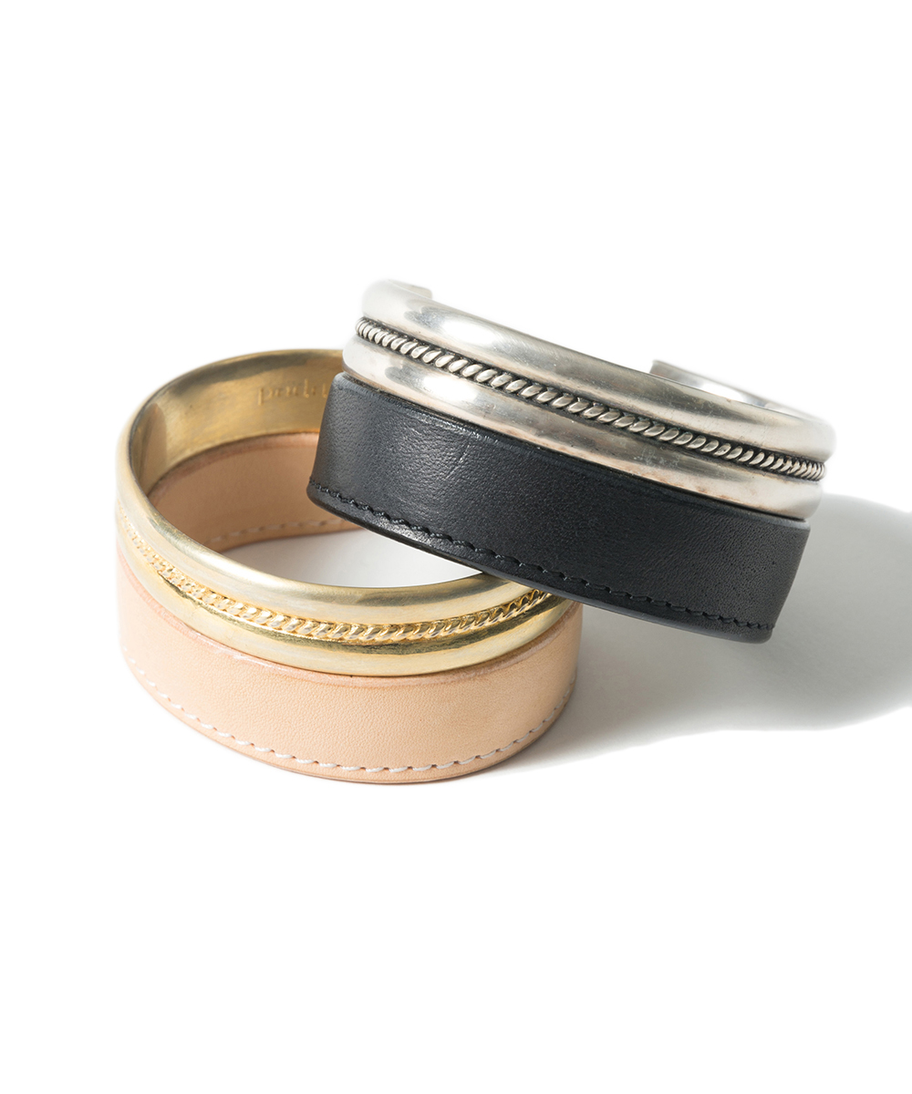 Name. BRASS & LEATHER CUFF BRACELET